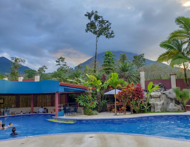 View of pool and Arenal Volcano